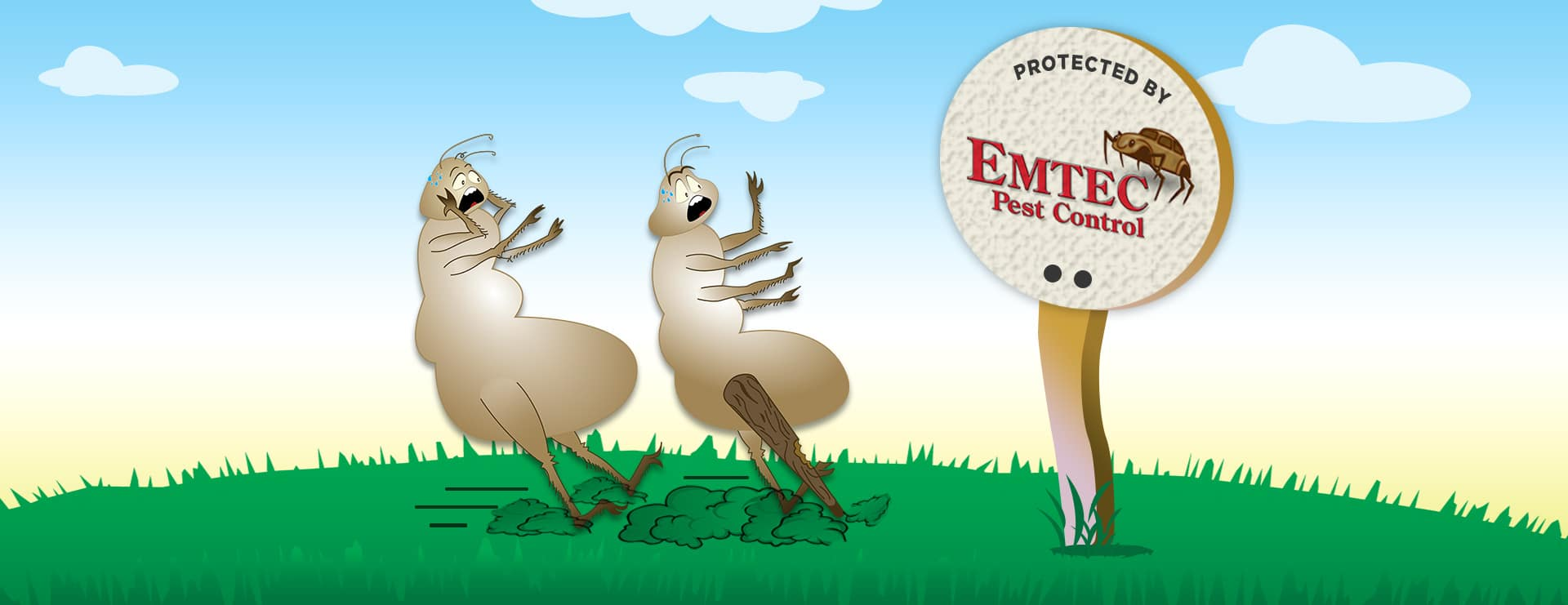 Cartoon Woody and Stump afraid when seeing Protected by Emtec Pest Control sign
