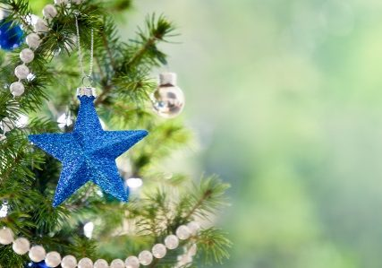 Christmas tree with blue stars